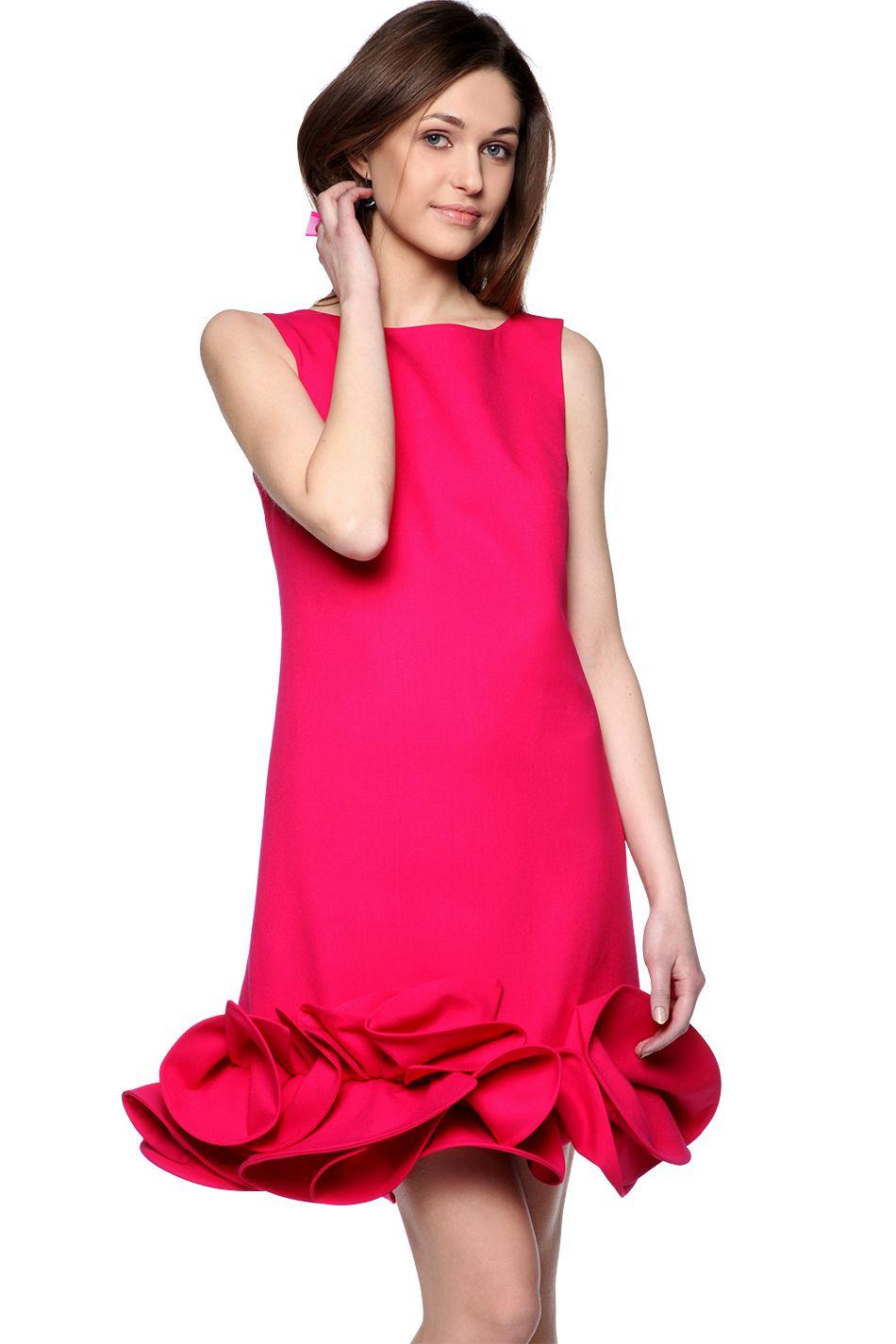 c6f7272514 Sukienka trapezowa amarantowa