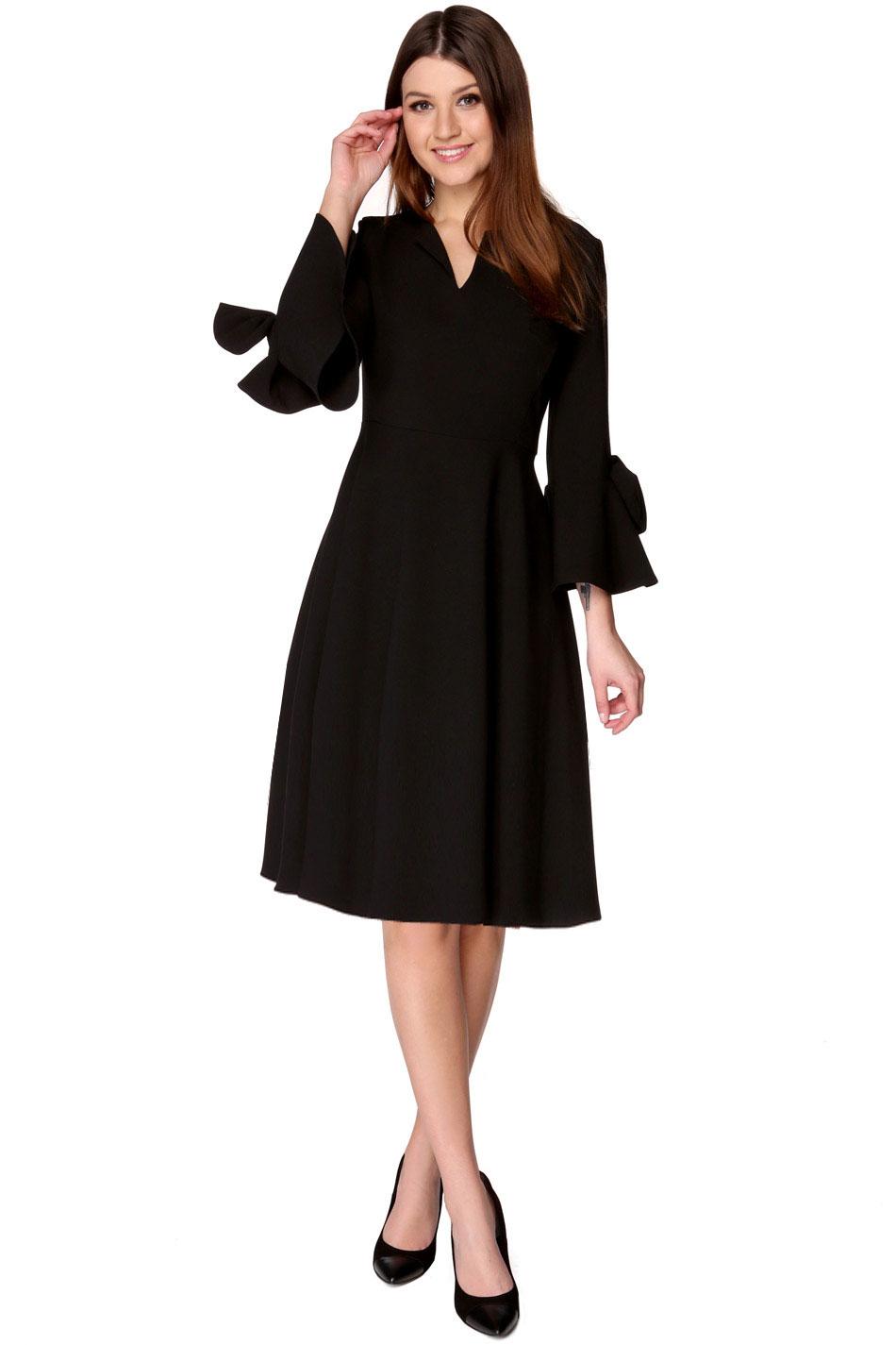 ba4a48f0ed Sukienka rozkloszowana midi czarna