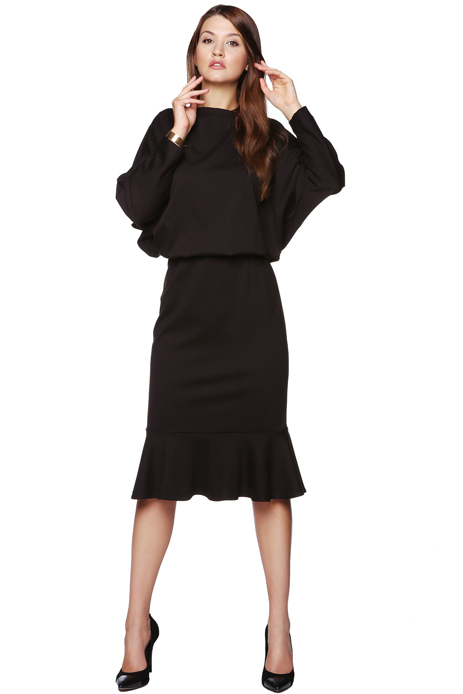 cfdbd5c77b Sukienka midi z falbaną czarna